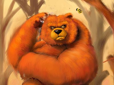 WIP Bear and Bee wip bear bee illustration ipad digital painting inspire pro