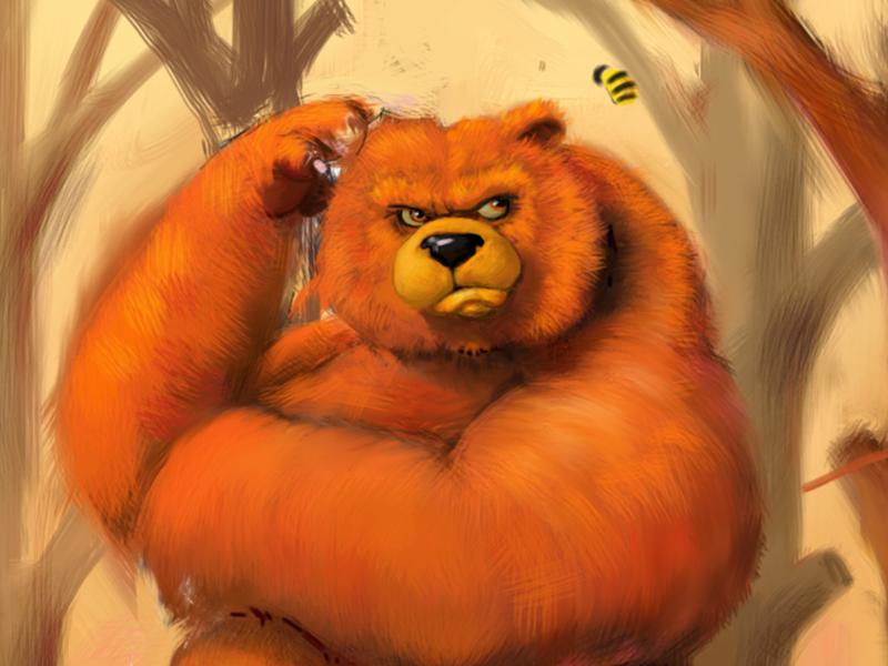WIP Bear and Bee wip bear bee illustration ipad digital painting inspire pro