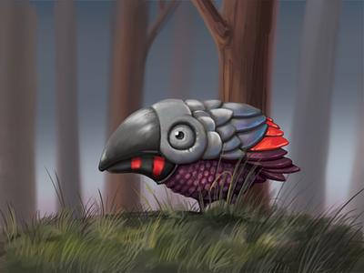 Odd Bird bird photoshop illustration cartoon forest painting digital animal