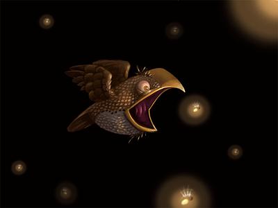Firefly Hunter bird illustration photoshop cartoon night firefly fly eat lightning bug