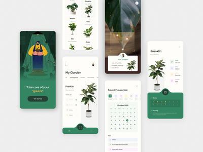 Plant care app concept design minimal fireart fireartstudio app plant illustration plant ui