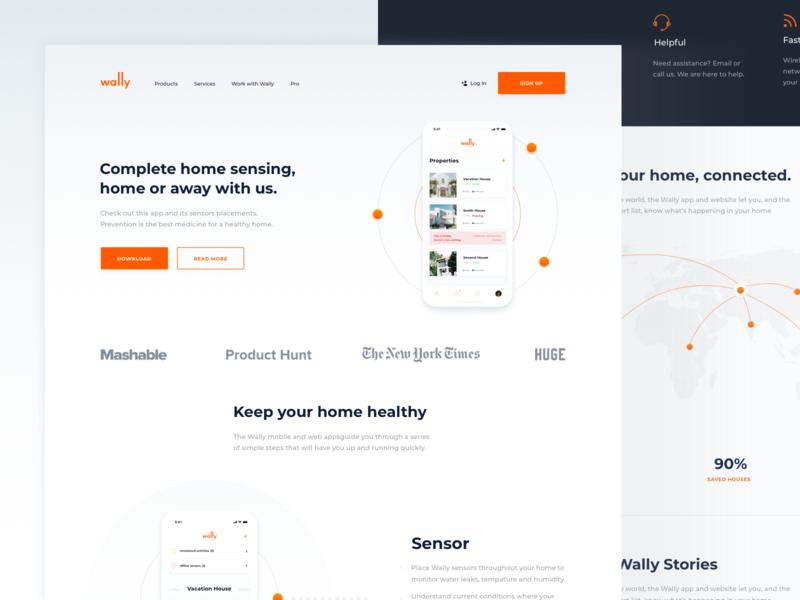 Concept for Wally Landing page app illustration app webdesign ui website web design landing branding