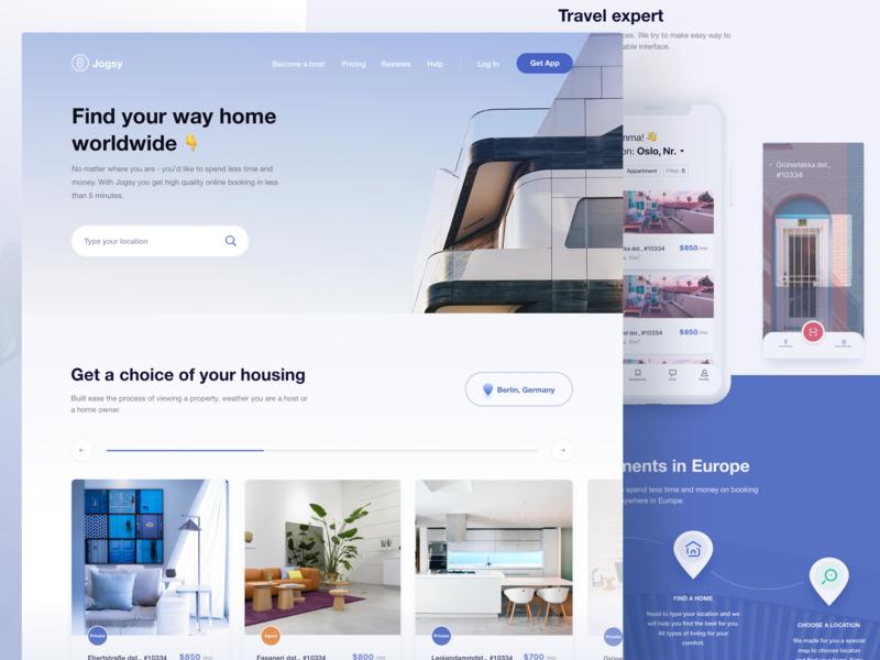 Homepage design for Jogsy marketing ux app real estate web minimal ui website webdesign landing design