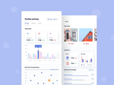 Marketing analytic tool for Instagram mobile ux marketing ui app design