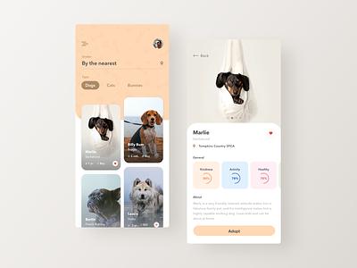 Better experience for pet adoption fireartstudio fireart minimal design ux ui app mobile
