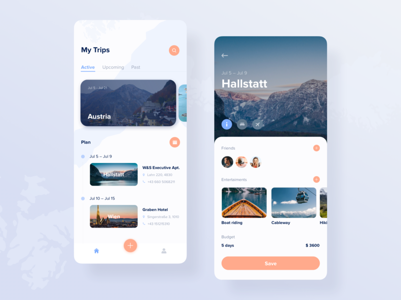Trip planner app concept by Anna Truong for Fireart Studio on Dribbble