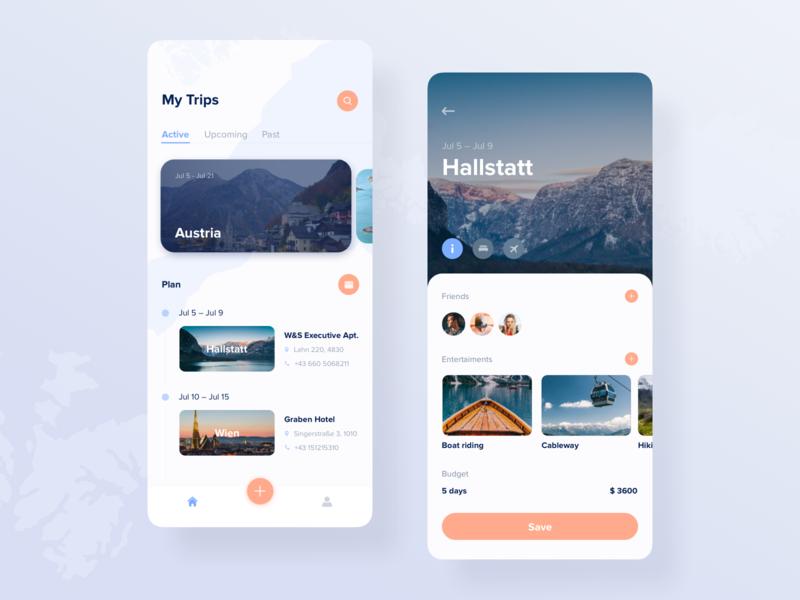 Trip planner app concept app fireart fireartstudio design ux ui