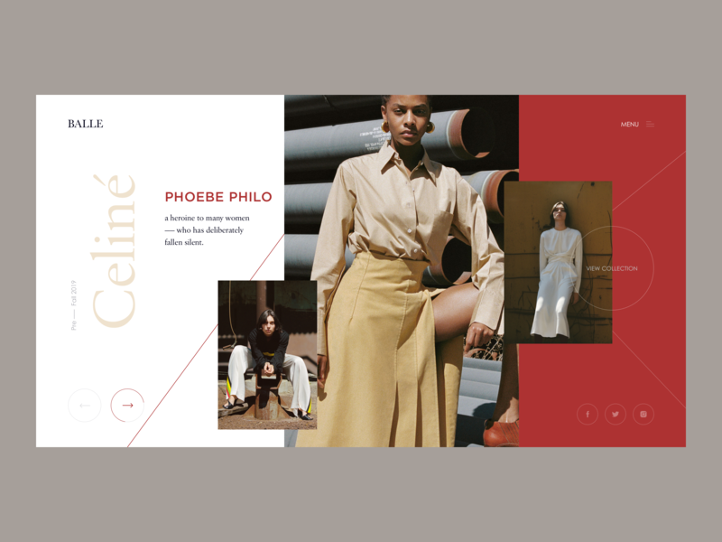 Homepage for Balle fashion landing minimal design ui
