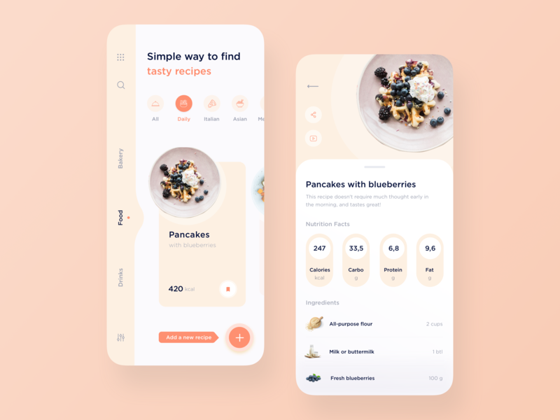 Recipe app design mobile design mobile ui mobile recipe food app design minimal ux ui