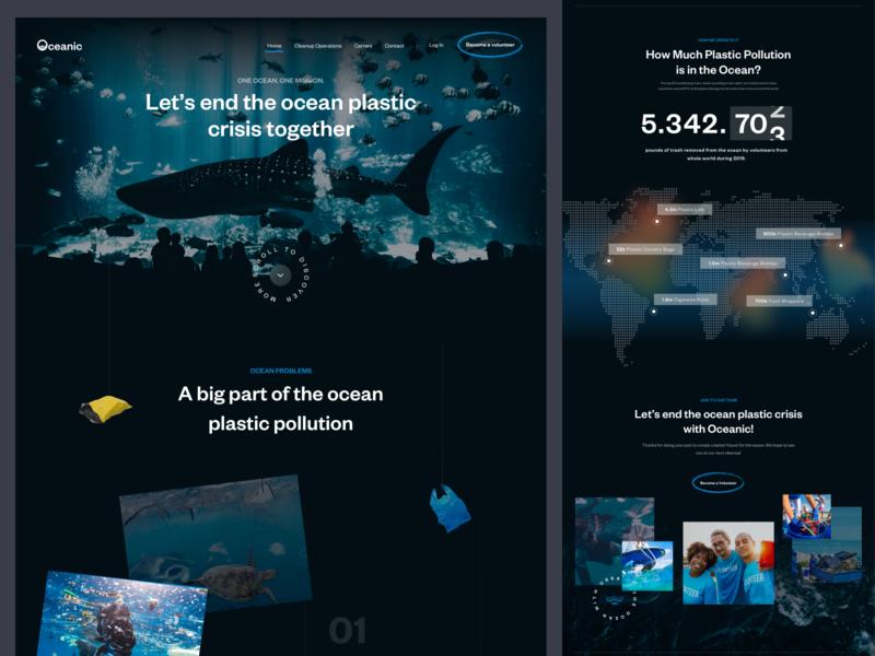 Homepage for Oceanic webdesign plastic ecology fireartstudio fireart design landing minimal ui
