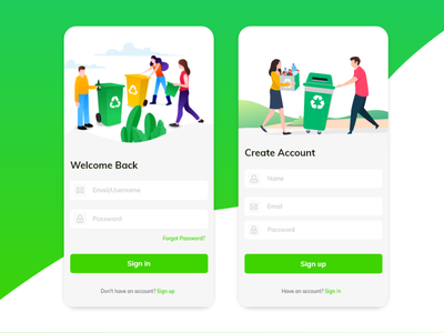 Sign In and Sign Up Recycle Apps