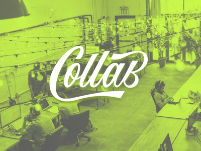 Collab Coworking space typegang goodtype custom type script letters trendy coworking brush branding logo illustration type calligraphy typography hand lettering lettering design