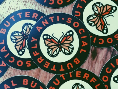 Anti-Social Butterfly Stickers