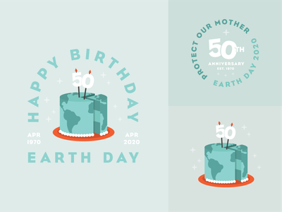 Earth Day | Social mother earth mother nature anniversary vector candles cake birthday cake birthday world earthday earth sticker badge brand branding illustration