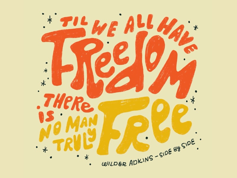 Freedom for All free folk blm black lives matter freedom typography hand lettering lettering procreate type illustration