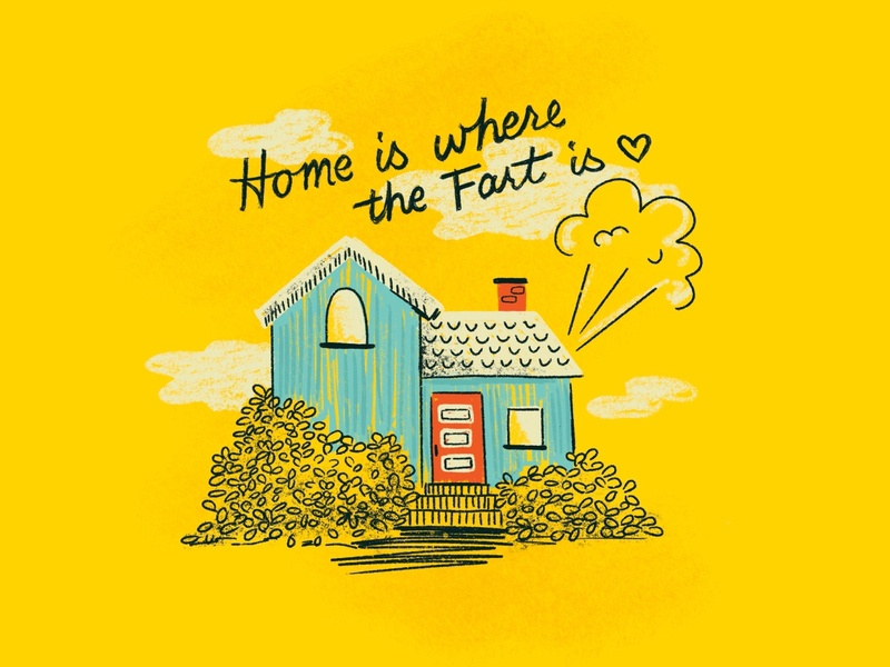 Sunday Punday No. 033 fart house home houses typography hand lettering lettering pun retro procreate vintage type illustration