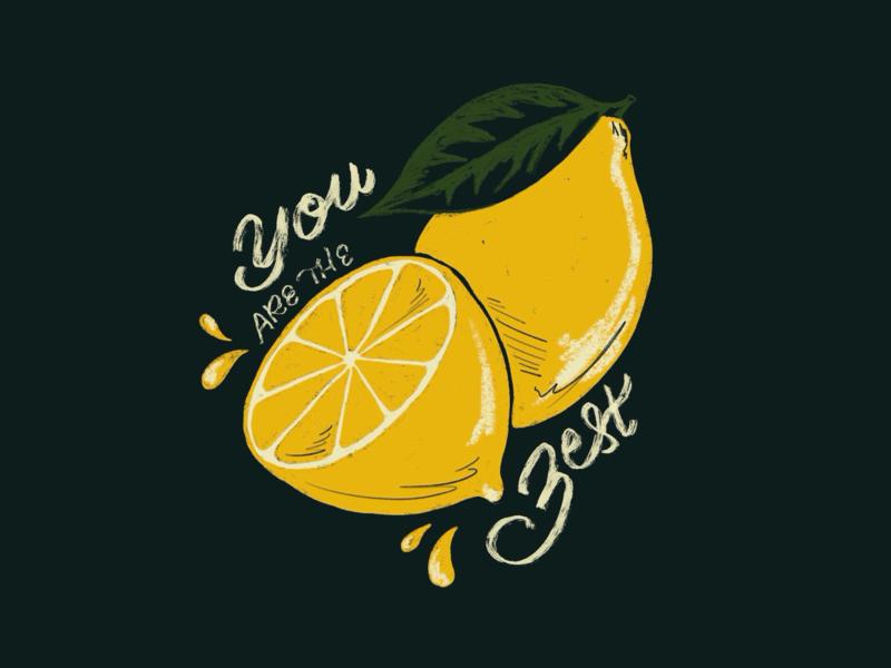 Sunday Punday No. 035 citrus slice fruit summer zesty zest juicy lemon food typography hand lettering lettering pun retro procreate vintage type illustration