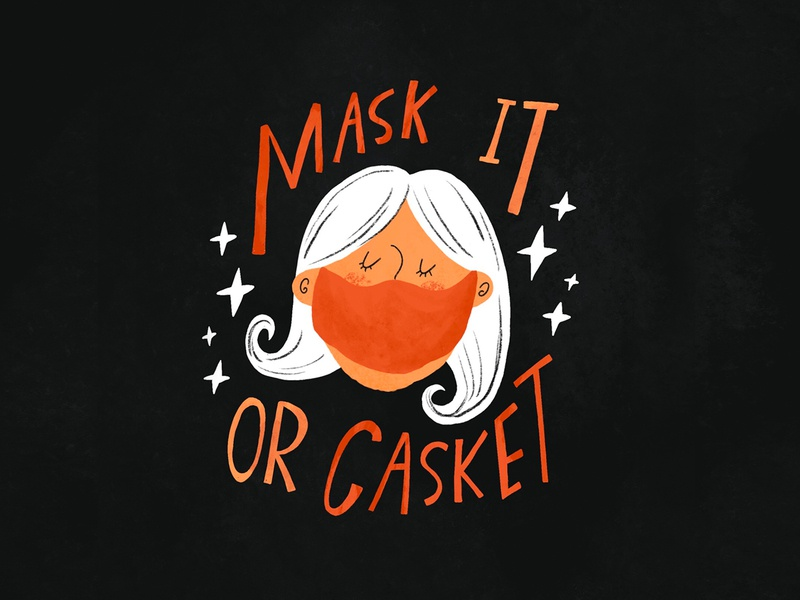 Mask it or Casket midcenturymodern midcentury covid face mask mask woman face typography hand lettering lettering retro procreate vintage type illustration