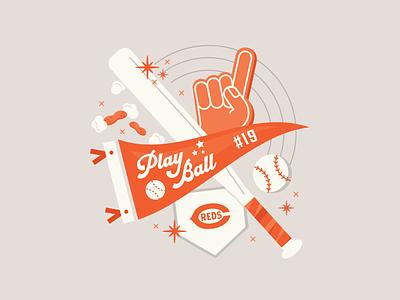 Yay Sports! | Social foam finger vector social media sports home plate baseball bat baseball pennant lettering type illustration
