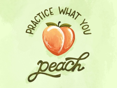 Sunday Punday No. 038 practice summer fruit peachy peach food typography pun hand lettering lettering retro procreate type vintage illustration