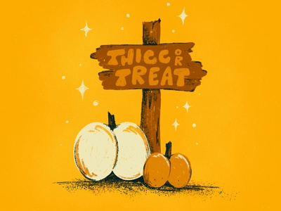 Sunday Punday No. 048 halloween trickortreat thicc booty pumpkin sign hand lettering typography pun lettering retro procreate vintage type illustration