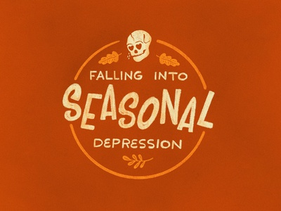 Sunday Punday No. 049 depression badge autumn leaves skull autumn fall seasonal typography hand lettering pun lettering procreate type vintage illustration