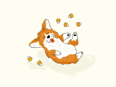 Sunday Punday No. 050: Happy Howl-O-Ween retro halloween corgi dog candy corn candy procreate illustration