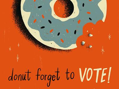 Sunday Punday No. 051 vote2020 election vote donut food typography hand lettering pun lettering retro procreate vintage type illustration