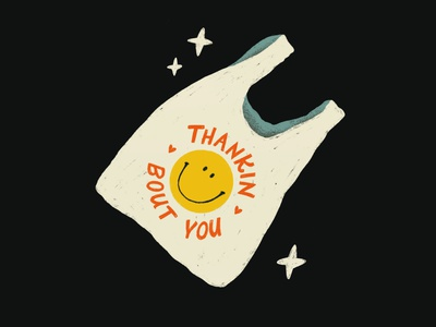 Thankin Bout You smiley face romance love grocery bag bag smiley smile typography hand lettering pun lettering procreate vintage type illustration