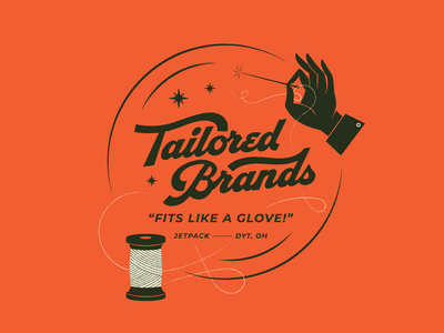 Tailored Brands | Social custom thread hand needle sewing brands branding tailored tailor typography hand lettering lettering type vintage illustration