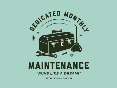 Dedicated Monthly Maintenance | Social badge agency website mechanic oil can toolbox tools maintenance car typography lettering retro vintage type illustration
