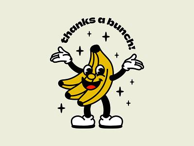 Thanks a bunch! character cartoon design icon pun fruit branding banana sticker badge retro vintage type illustration
