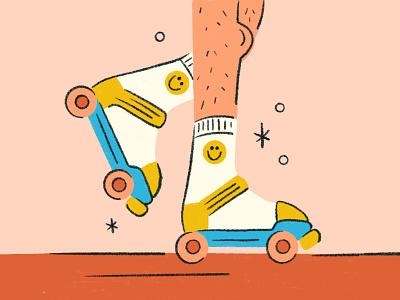 rolling to the weekend legs socks smiley roll skate rollerskate retro procreate illustration