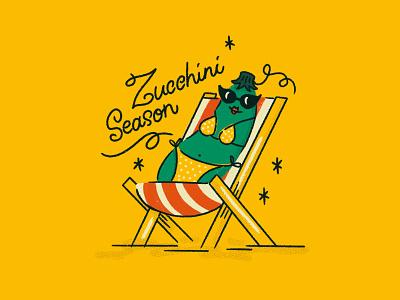 Itsy Bitsy Teenie Weenie Yellow Polka Dot.... sungalsses relax chair beach bikini vegetable zucchini pun lettering procreate type illustration