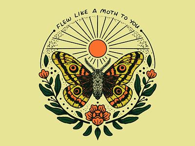 Sunlight badge sunlight sun moth retro lettering procreate vintage illustration