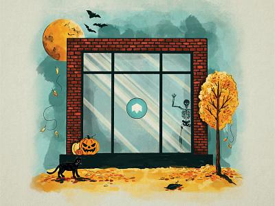 Happy Halloween 🎃   Social office window bats full moon black cat skeleton autumn fall pumpkin halloween spooky procreate illustration