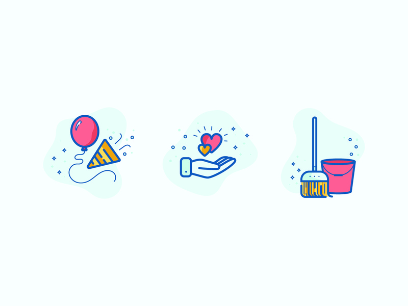 Kid Clubhouse | Icons hearts bucket balloons broom fun party hand safety clean icon illustration