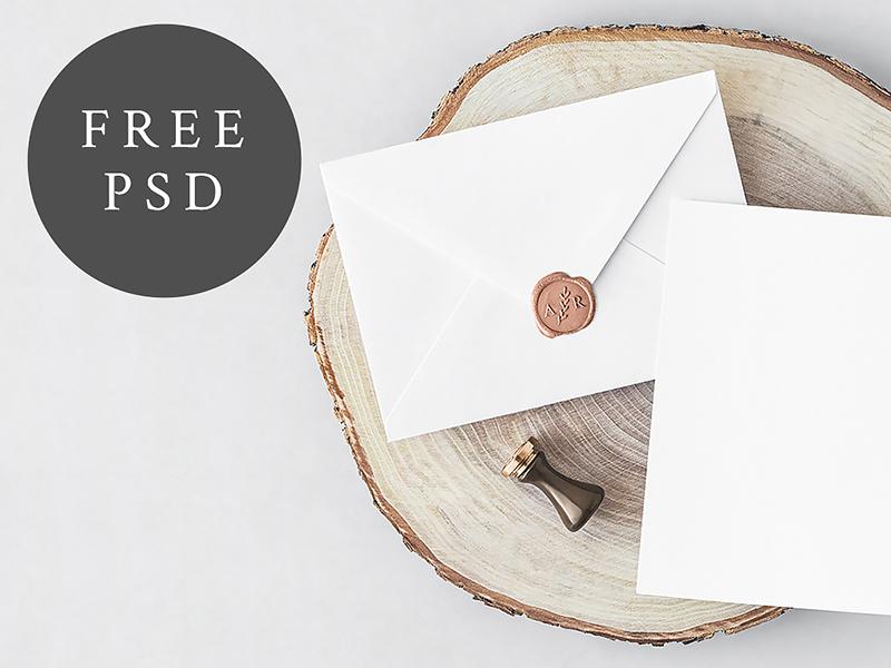 FREE Invitation Card & Envelope wedding invitation branding free freebie download psd mockup mock up stationery wedding invitation card