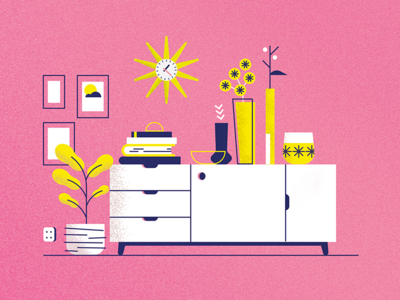 Retro Living Room #1 by Louise Neys - Dribbble