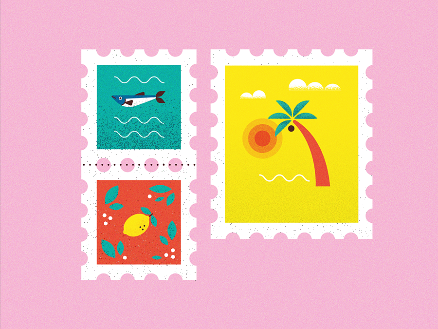 STAMPS travel card waves flat illustration postcard tropical exotic sun lemon fruits fish sea outdoor stamps stamp beach holiday palm