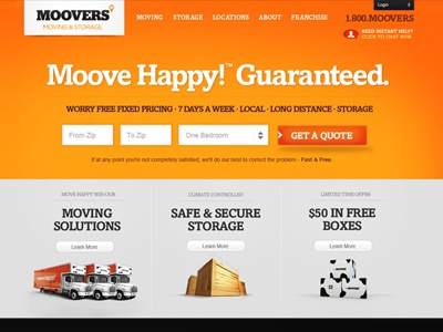 Moving Storage Landing landing page clean orange quote field form 3d