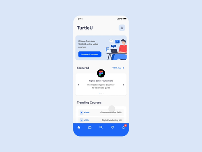 TurtleU mobile education learning product interaction interface app ux ui