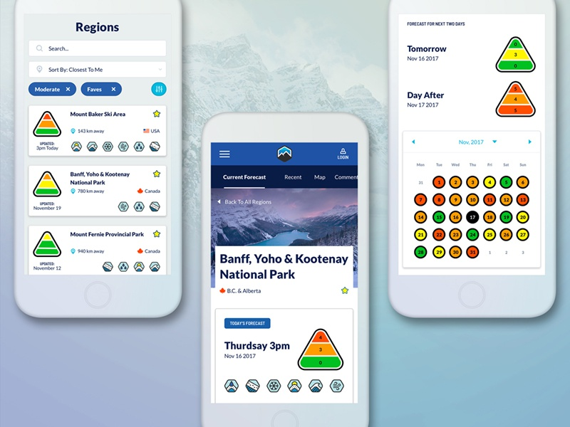 Backcountry Avalanche Warning Interface 2 app interface ui ux site web mobile vancouver for hire