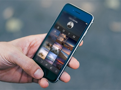 App Concept app photo message simple clean dark ui ux mobile iphone iphone6