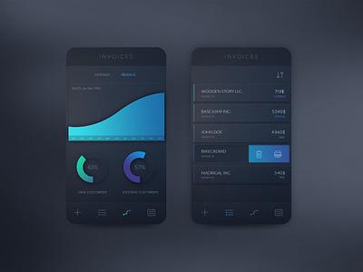 Invoices App Concept (PSD Freebie) psd app invoices dark gradient clean simple ios8 logicart stats statistics