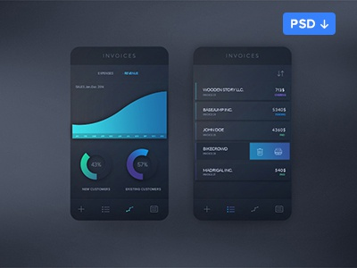 Invoices App Concept (PSD Freebie) psd app invoices dark gradient clean simple ios8 logicart stats statistics
