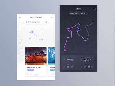 iOS Hiking App ux ui mobile travel hike hiking navigation distance route map app ios