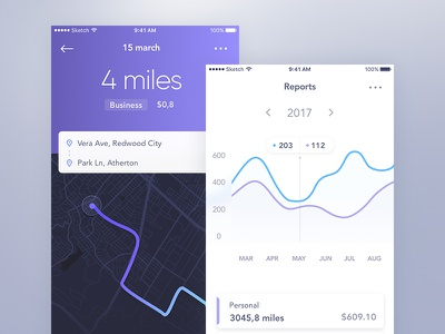Mileage ux ui tracking directions map analytics reports stats mobile app ios mileage