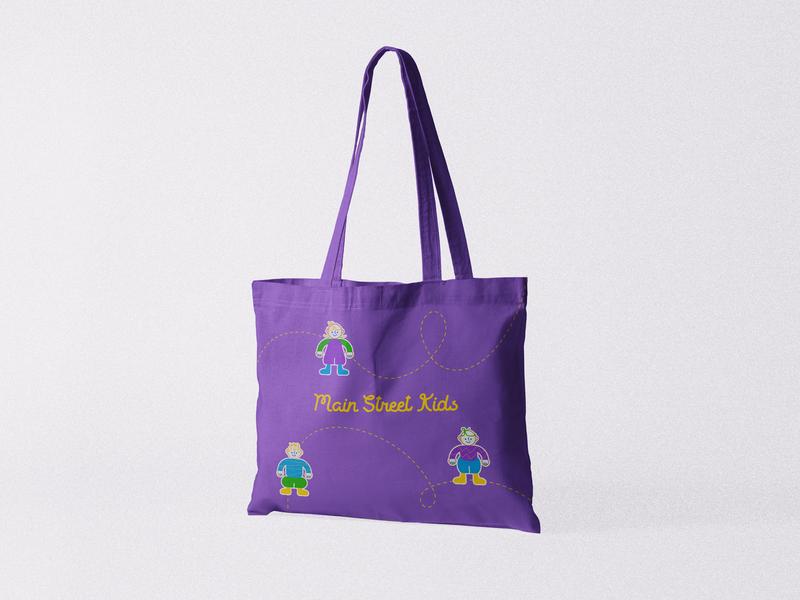 Main Street Kids – MSK kids mockup psd logo texture design illustrator cool kawaii ilustración illustration kids clothing kids brand tote bag mockup