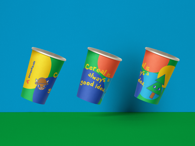 Ascent Kids Cups 4 Cereal Yum branding kids brand icon mockup ai animals character design kids logo kids illustration vector design valkuks illustrator kawaii lovely ilustración illustration